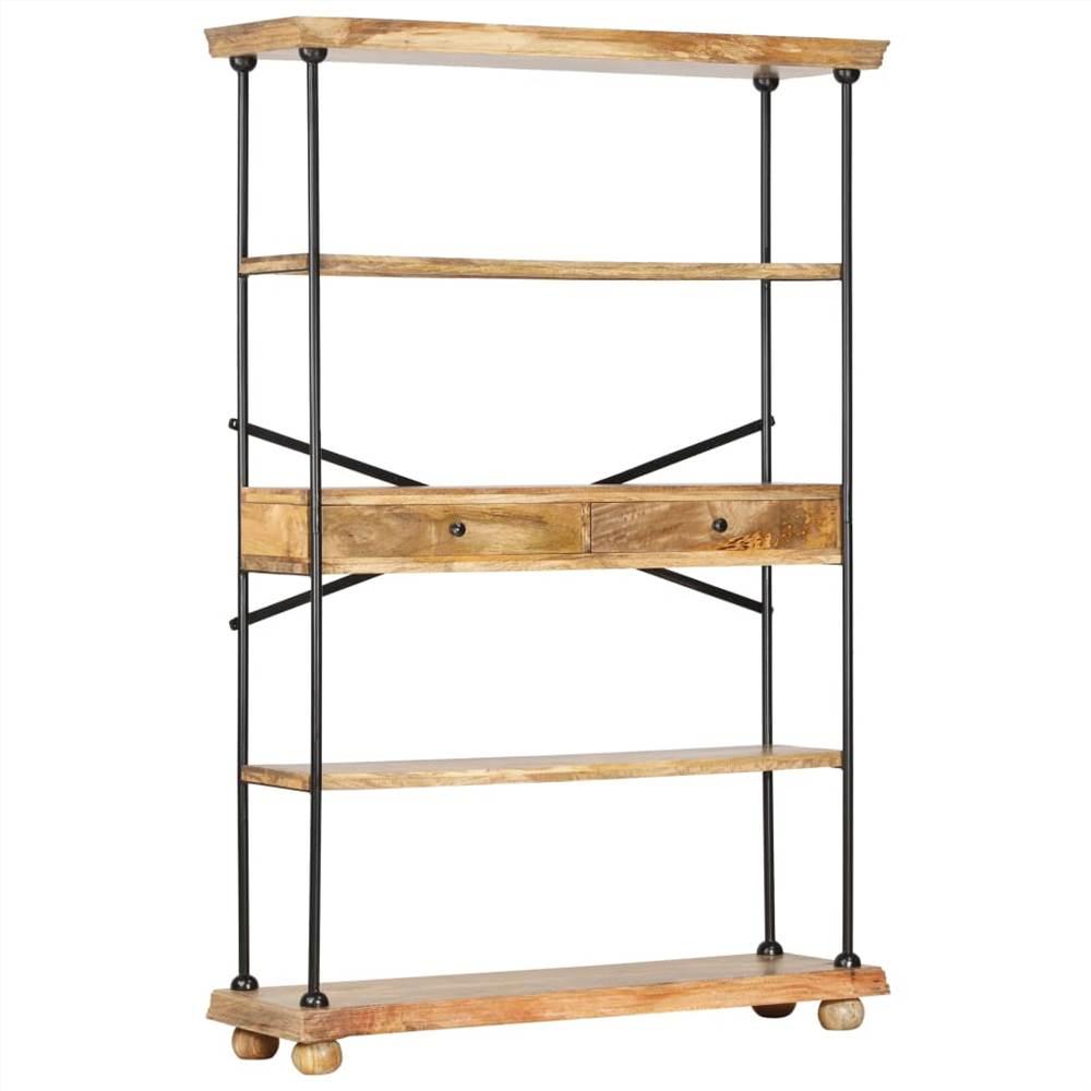 4-Tier Bookshelf 120x35x180 cm Solid Mango Wood and Steel