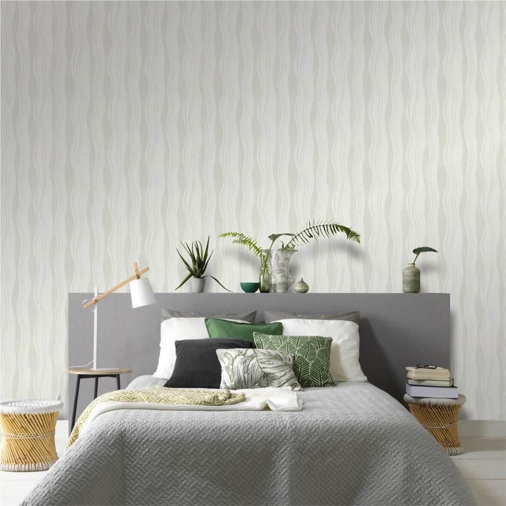 4 pcs rolos de papel de parede não tecido branco ondas de 0.53 x 10 m