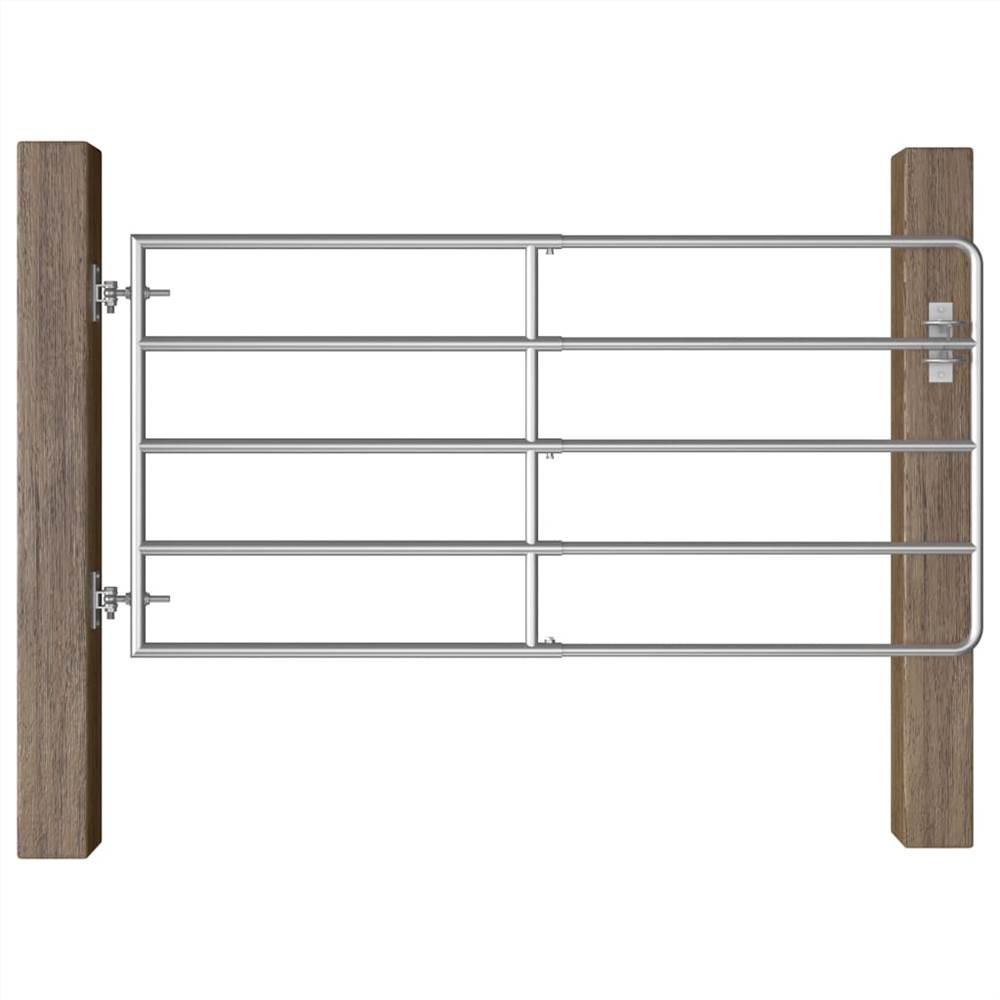 Porte de champ à 5 barres en acier (95-170) x90 cm argent