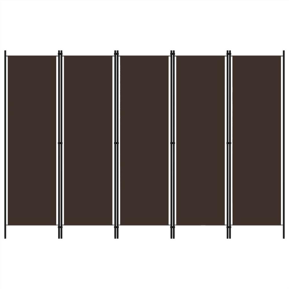 Séparateur de pièce à 5 panneaux brun 250x180 cm