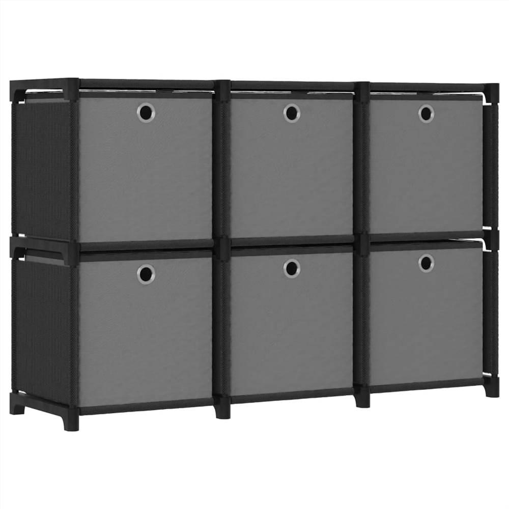 Présentoir 6 cubes avec boîtes en tissu noir 103x30x72.5 cm