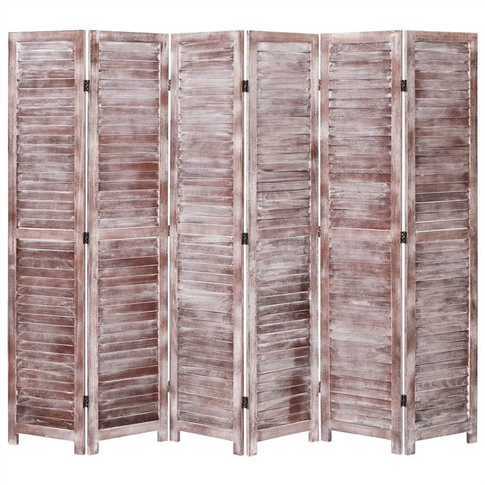 Séparateur de pièce à 6 panneaux Brun 210x165 cm Bois