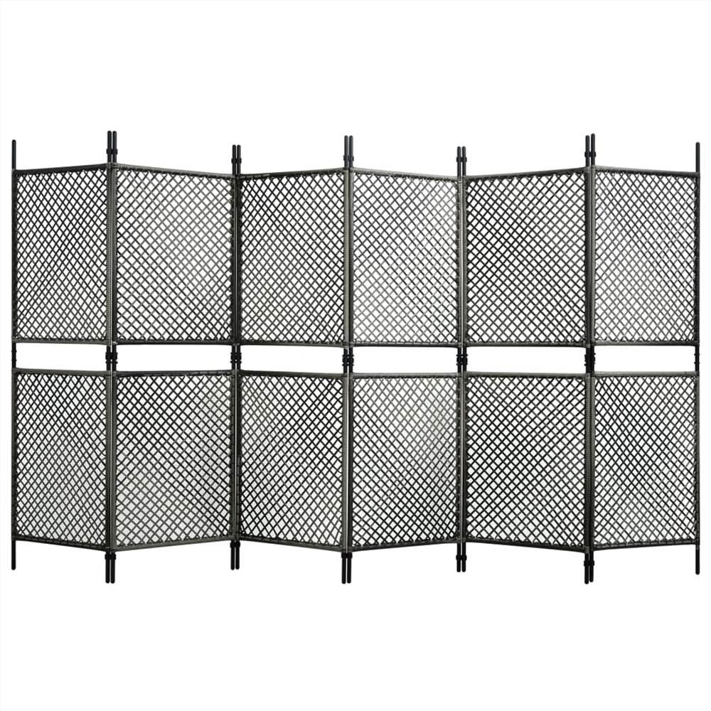 6-Panel Room Divider Poly Rattan Anthracite 360x200 cm
