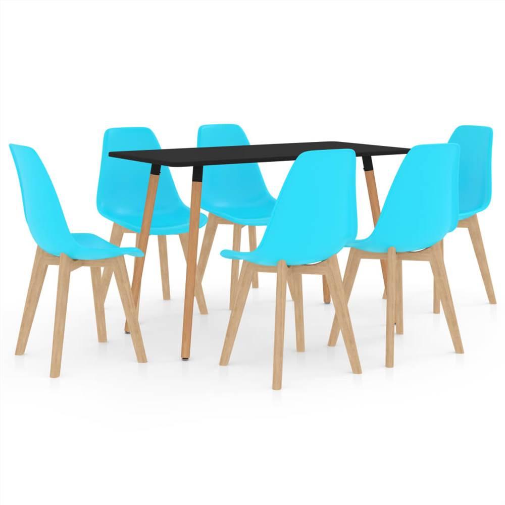 Ensemble de salle à manger 7 pièces bleu