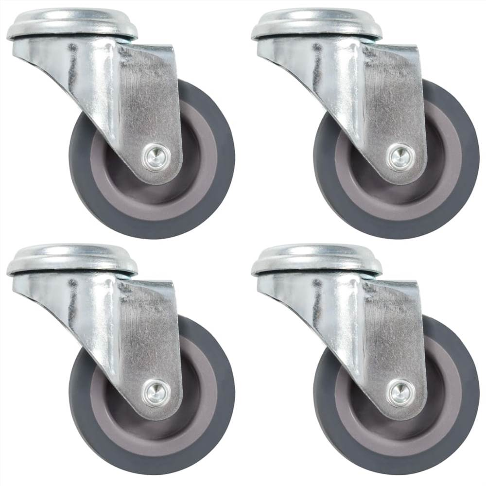 8 roulettes pivotantes à trou boulon 50 mm