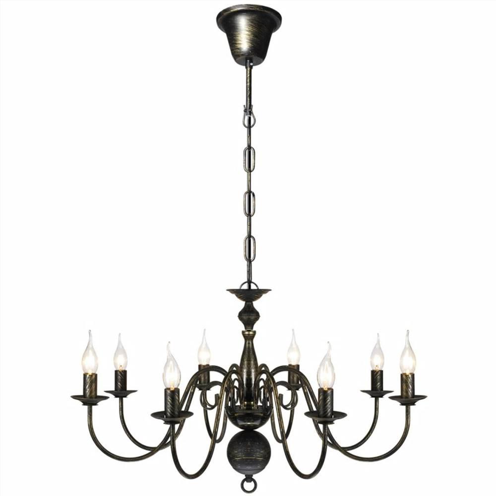 Lustre en métal noir antique 8 ampoules E14