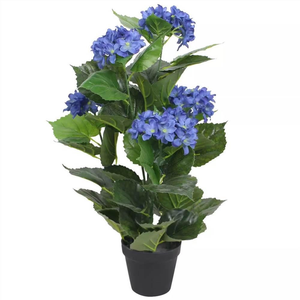 Artificial Hydrangea Plant with Pot 60 cm Blue