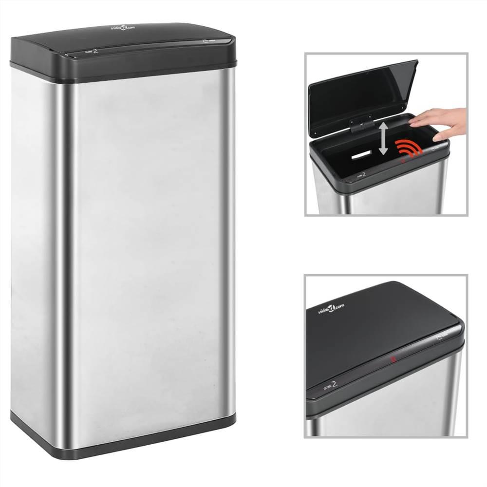 Мусорный ящик с автоматическим датчиком, серебристый и черный, нержавеющая сталь, 80 л
