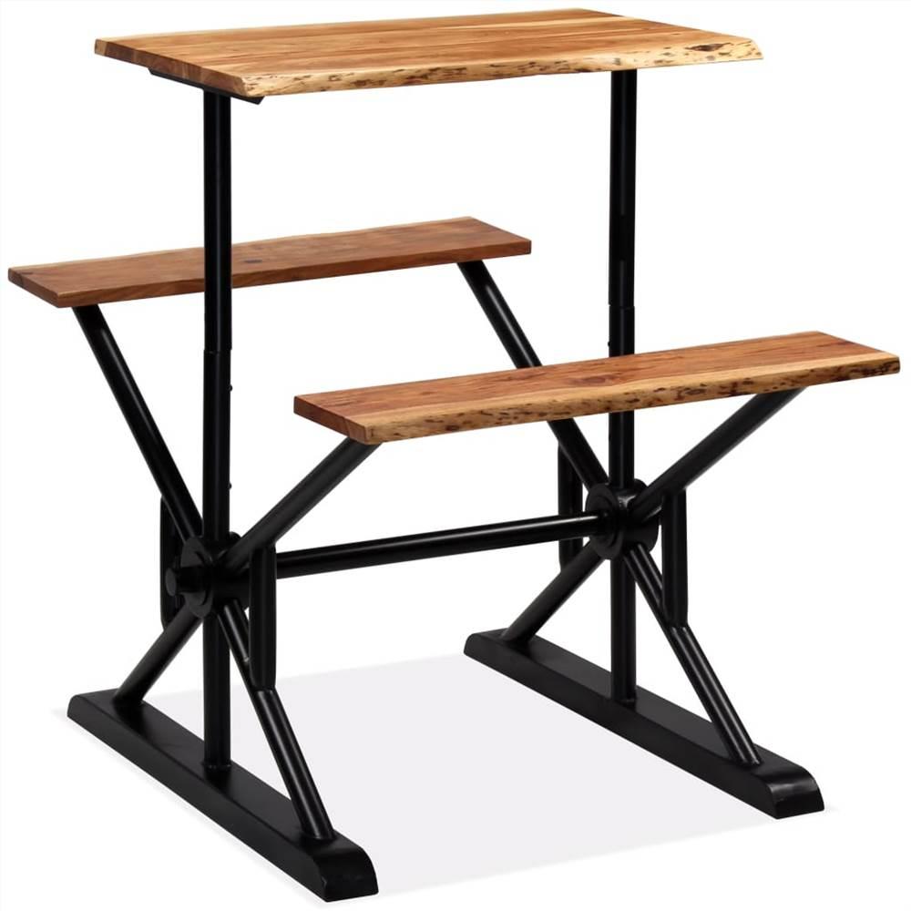 Table de bar avec bancs Bois d'acacia massif 80x50x107 cm
