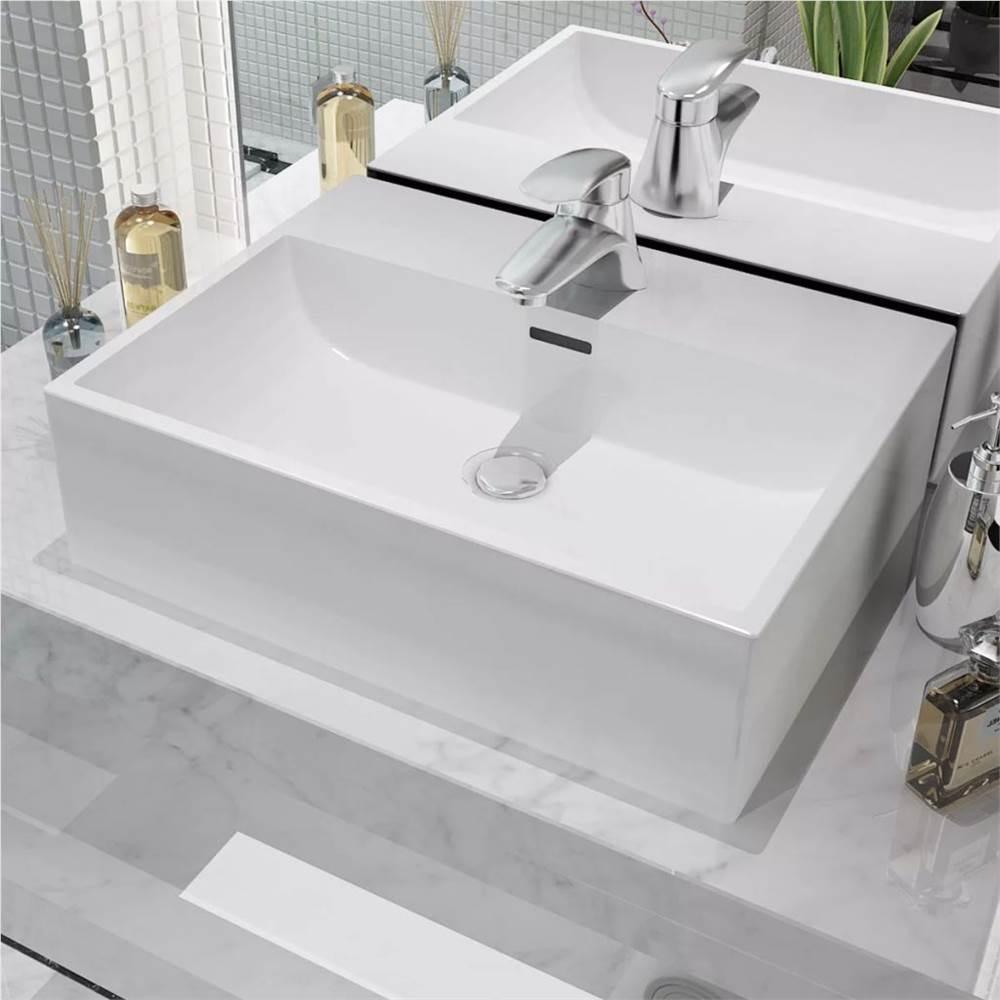 Lavabo avec trou de robinet en céramique blanc 51.5x38.5x15 cm