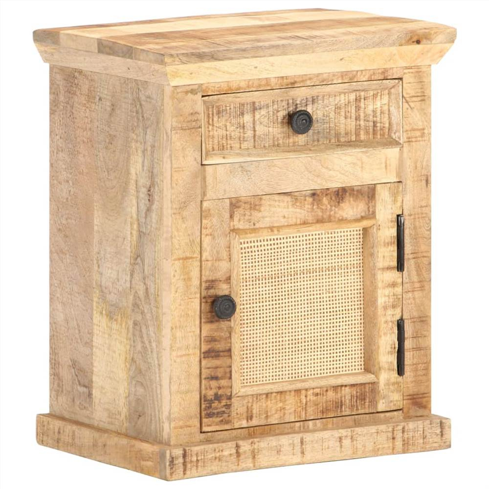 Bed Cabinet 40x30x50 cm Solid Mango Wood and Natural Cane