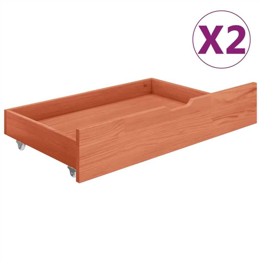 Cassettiera da letto 2 pezzi in legno massello di pino color miele