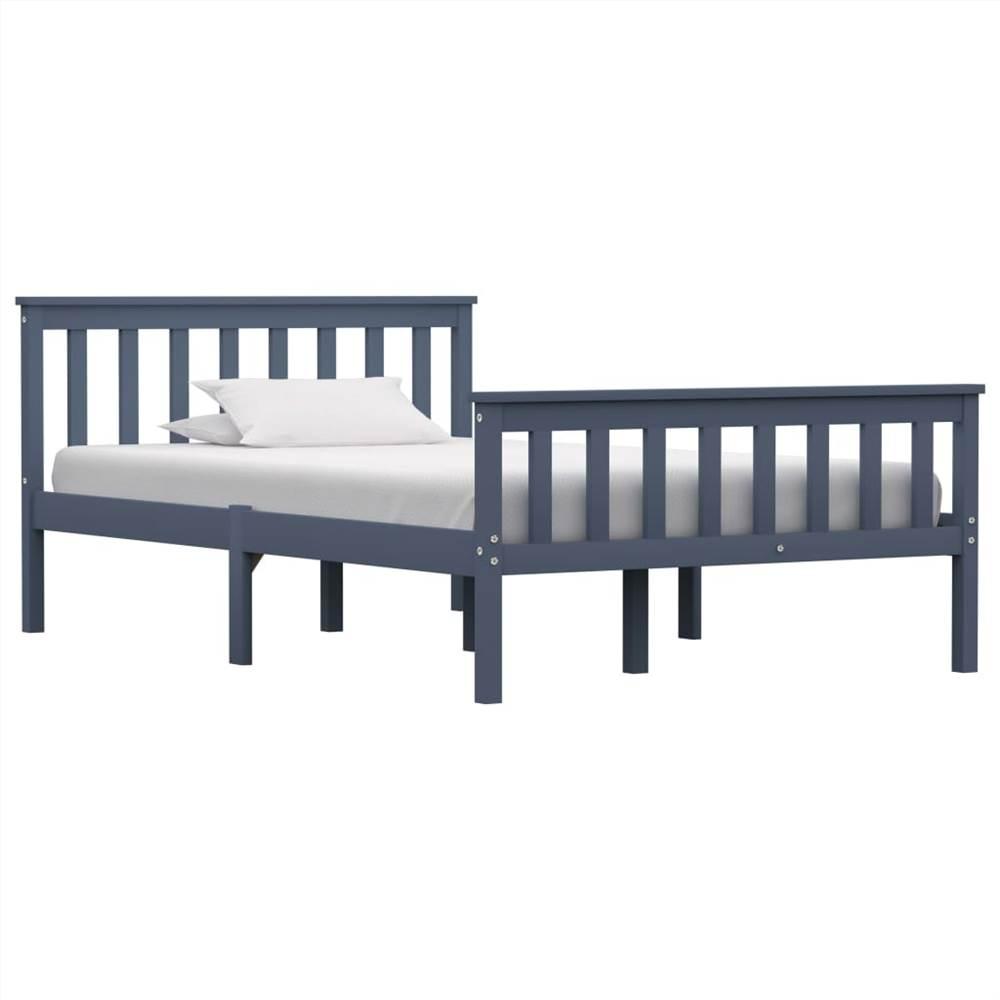 Cadre de lit Pin massif gris 120 x 190 cm
