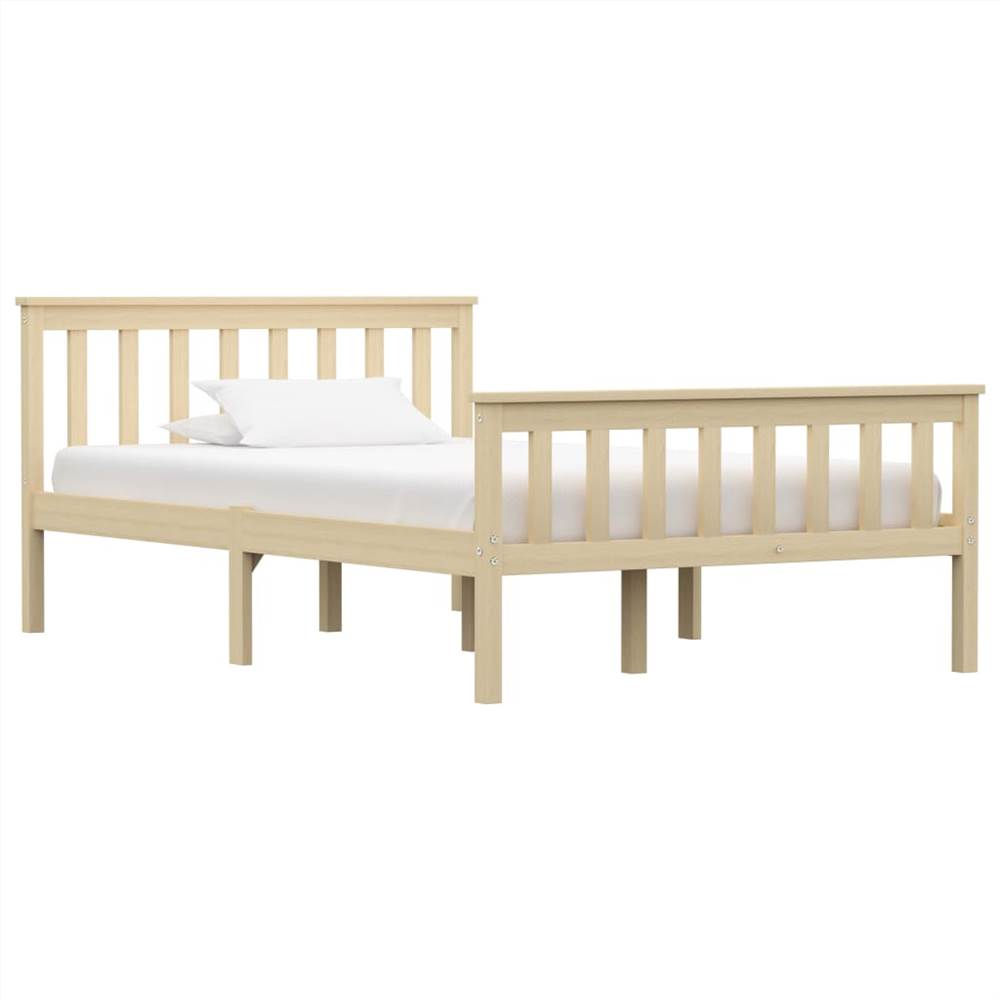 Bed Frame Light Wood Solid Pinewood 120x200 cm