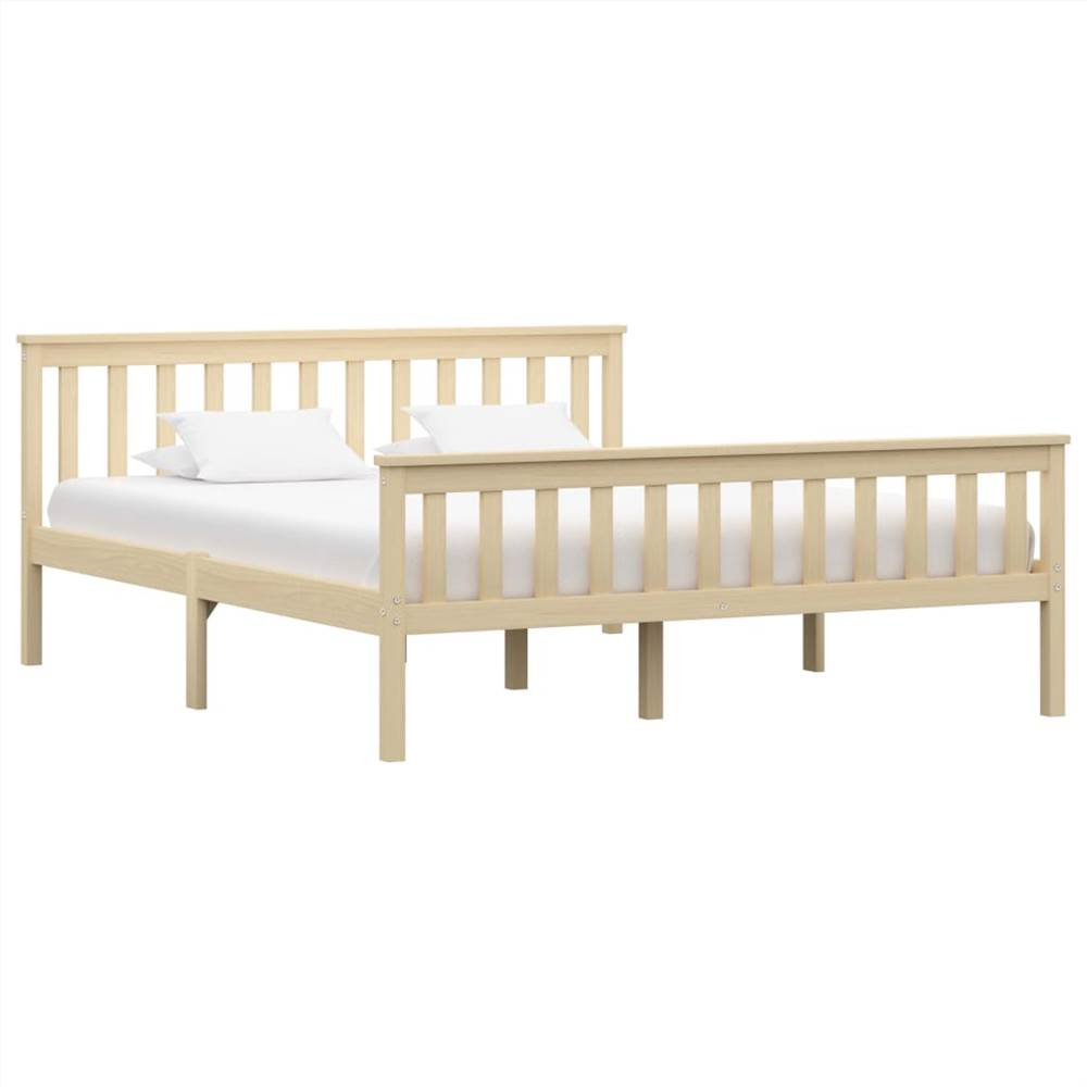 Bed Frame Light Wood Solid Pinewood 160x200 cm