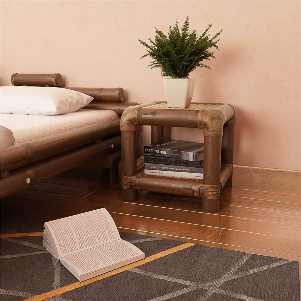 Bedside Table 40x40x40 cm Bamboo Dark Brown