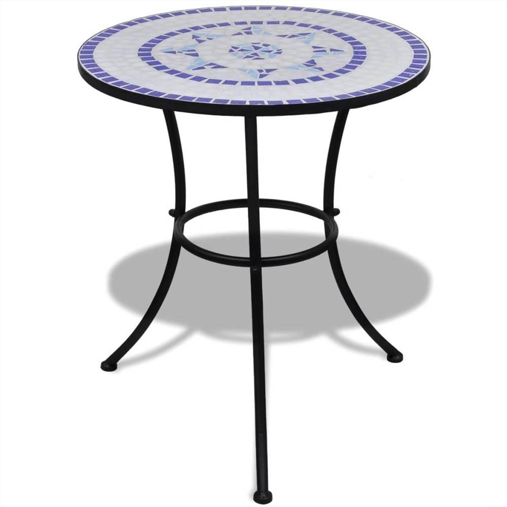 Tavolo Bistro Blu e Bianco 60 cm Mosaico