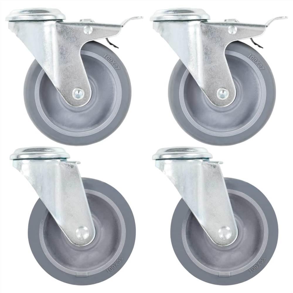 Roulettes pivotantes à trou boulon 4 pcs 100 mm