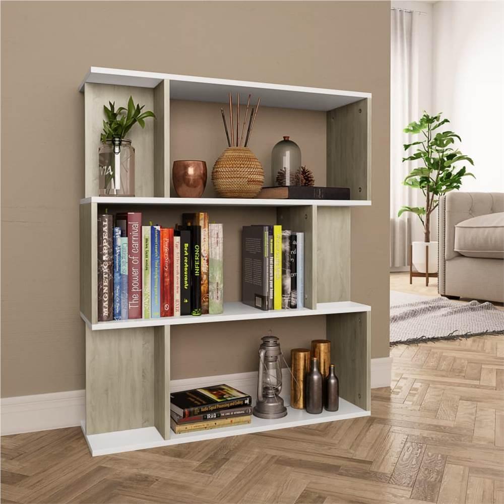 Bücherschrank / Raumteiler Weiß und Sonoma Oak 80x24x96cm