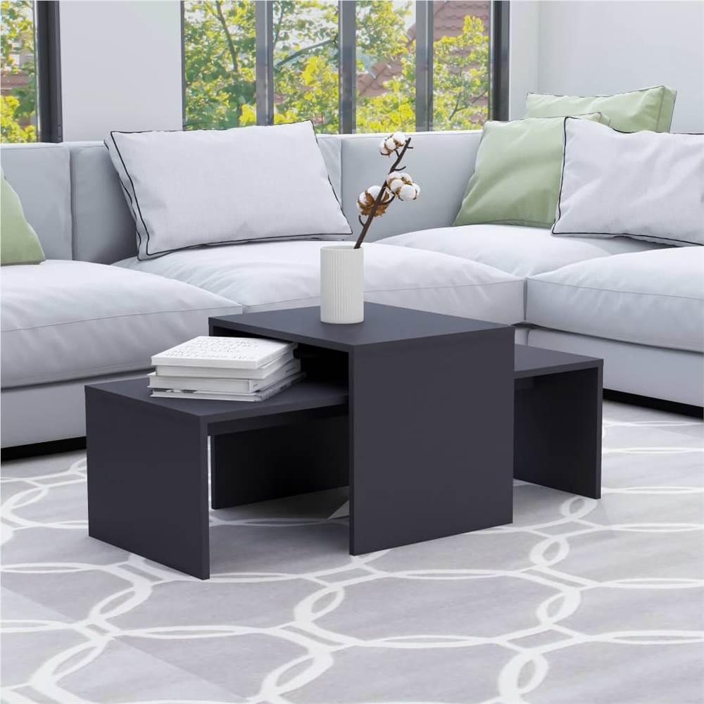 Coffee Table Set Grey 100x48x40 cm Chipboard
