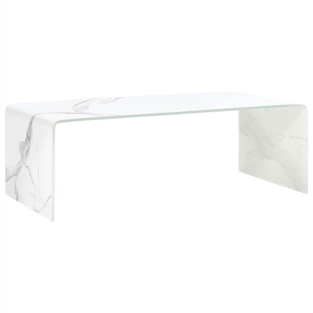 Table basse en marbre blanc 98x45x31 cm en verre trempé