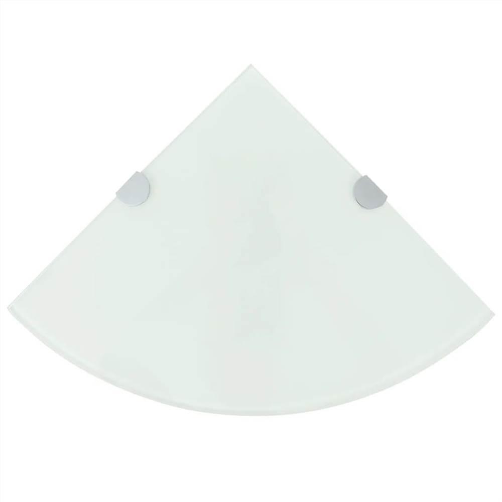Corner Shelf with Chrome Supports Glass White 25x25 cm