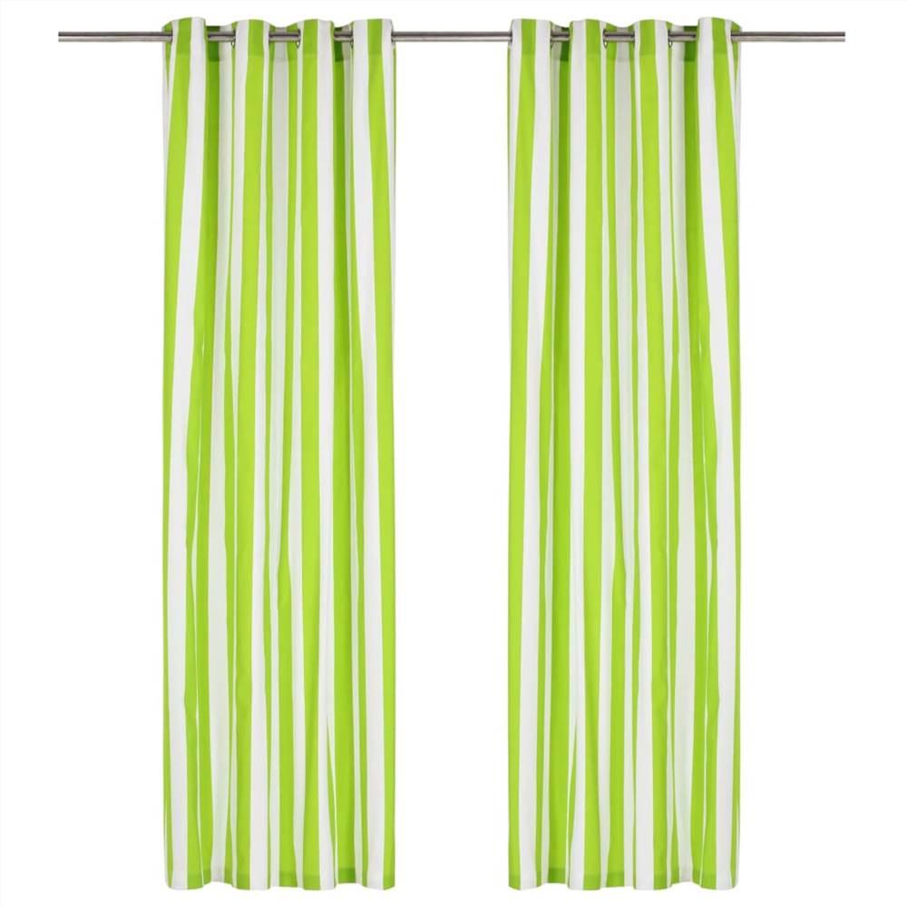 Vorhänge mit Metallringen 2 Stk. Stoff 140x225 cm grüner Streifen