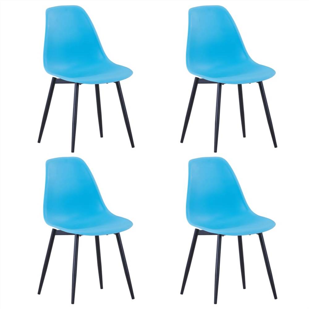 Dining Chairs 4 pcs Blue PP