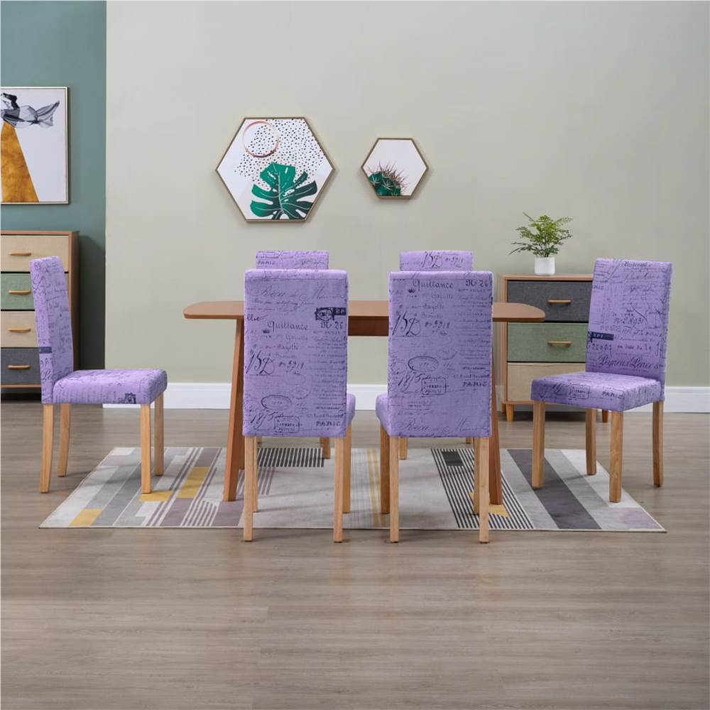 Dining Chairs 6 pcs Purple Fabric
