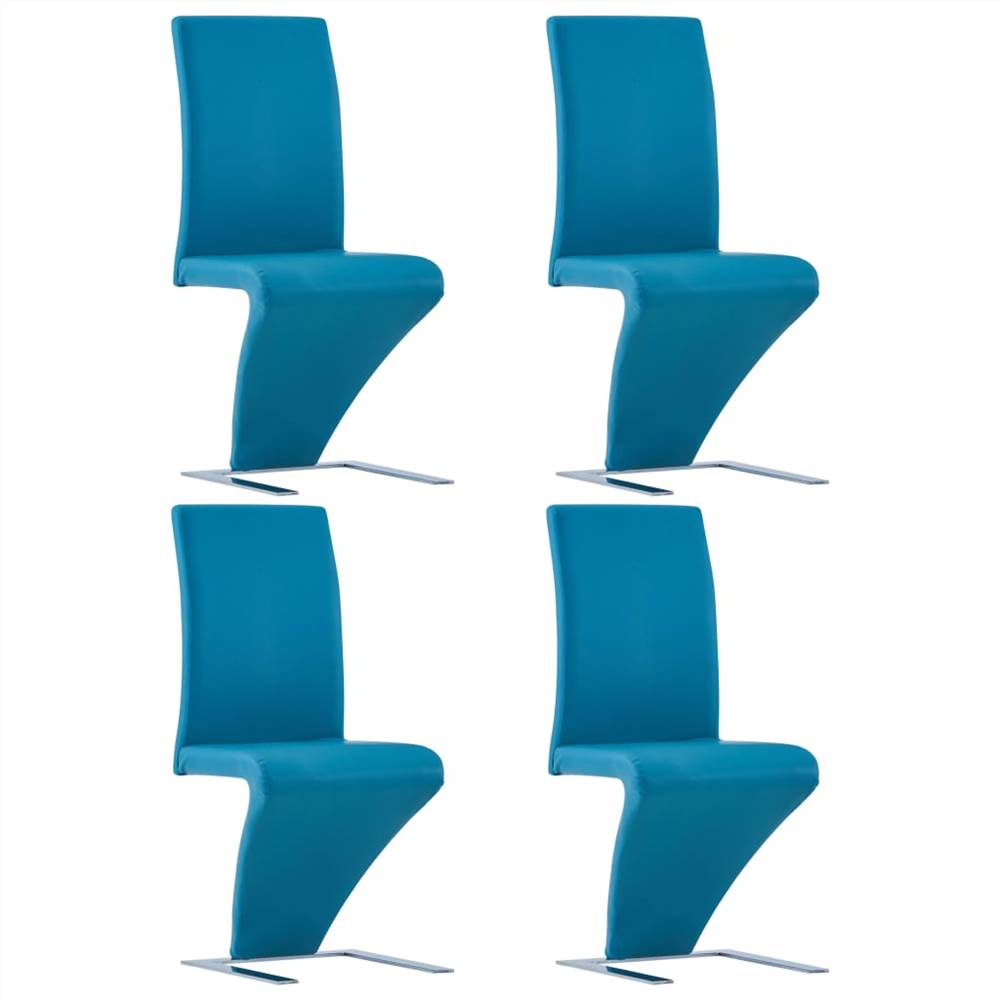Dining Chairs with Zigzag Shape 4 pcs Blue Faux Leather