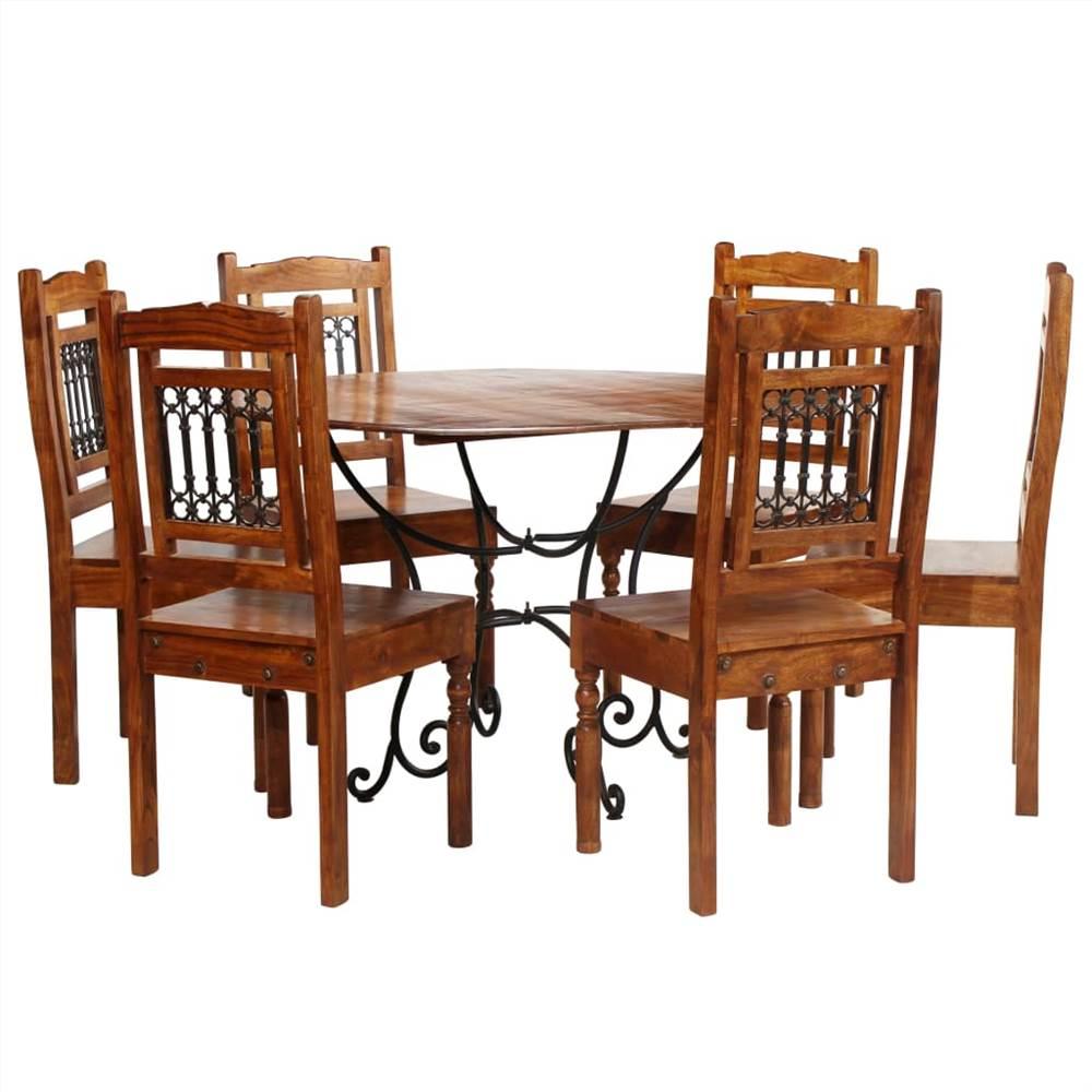Ensemble de table à manger 7 pièces en bois d'acacia massif avec finition Sheesham