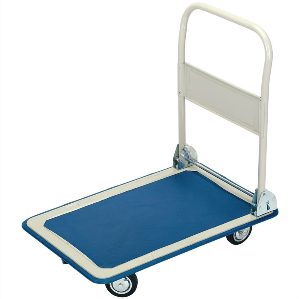 Draper Tools Platform Trolley with Folding Handle 63x48x85 cm Blue and White