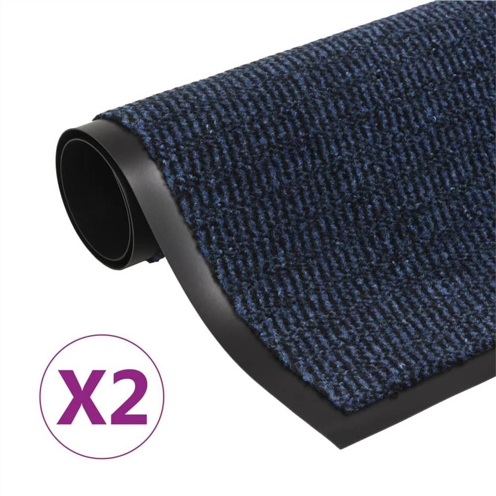 Staubschutzmatten 2 Stk. Rechteckig getuftet 40x60 cm Blau