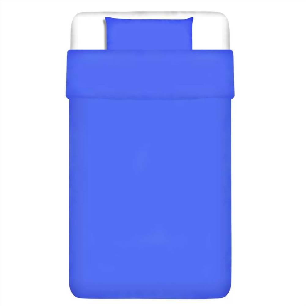 Duvet Cover Set Cotton Blue 155x200/60x70 cm