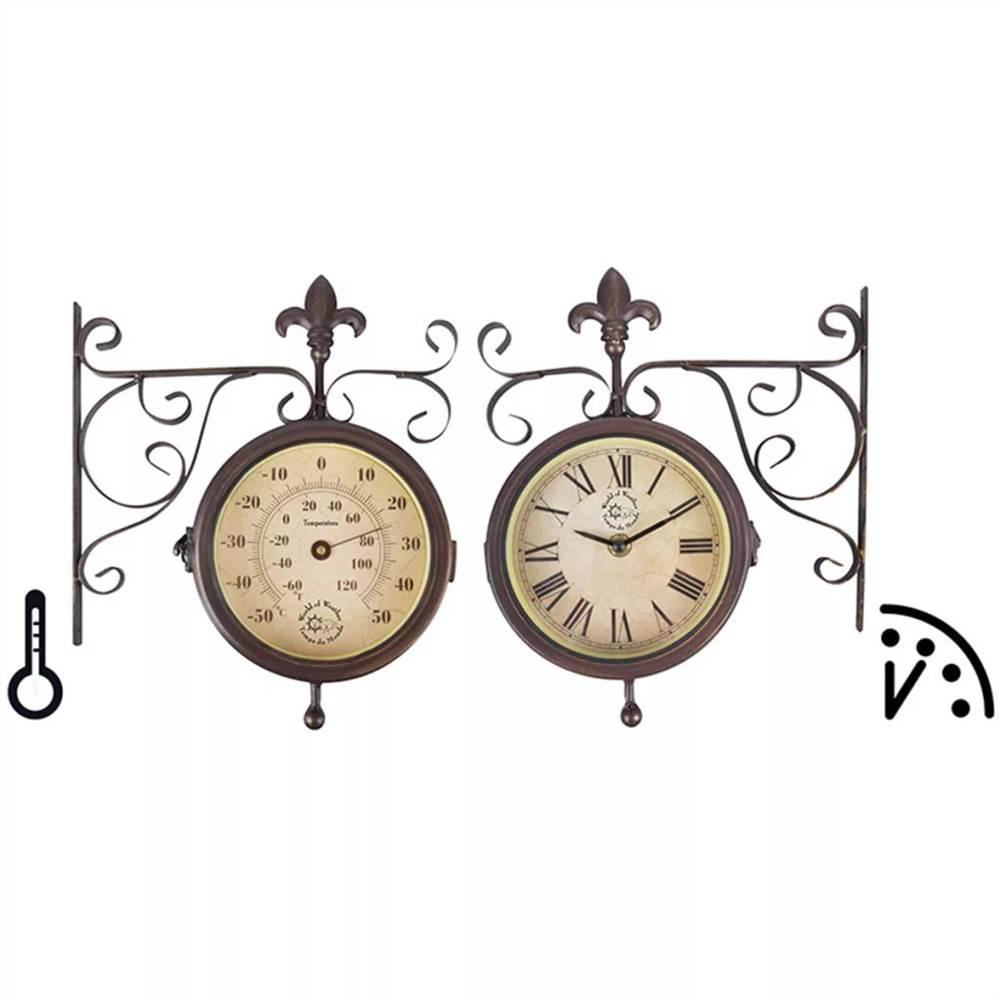 Esschert Design Station Clock with Thermometer TF005