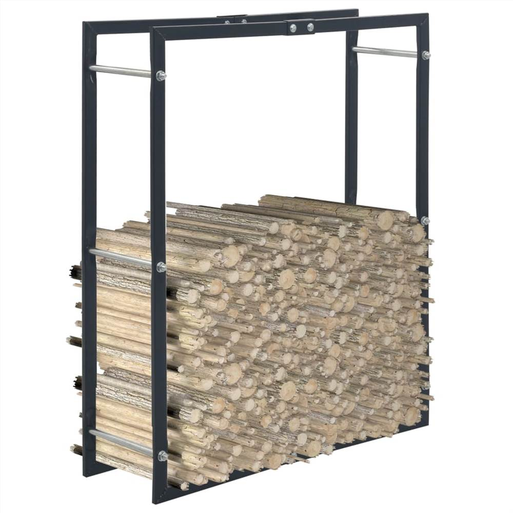 Firewood Rack Black 80x25x100 cm Steel