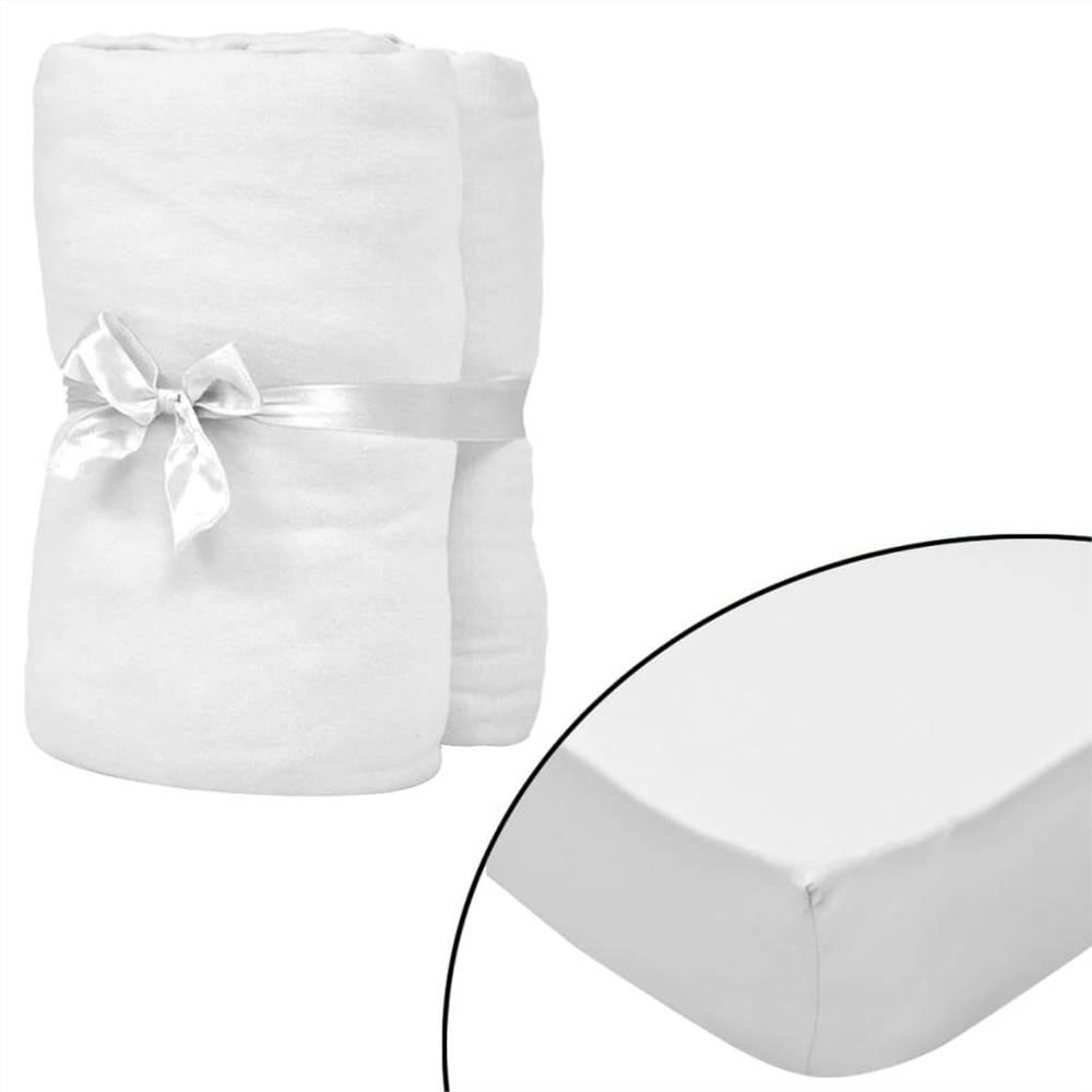 Draps-housses pour lits bébé 4 pièces Jersey de coton 70x140 cm Blanc