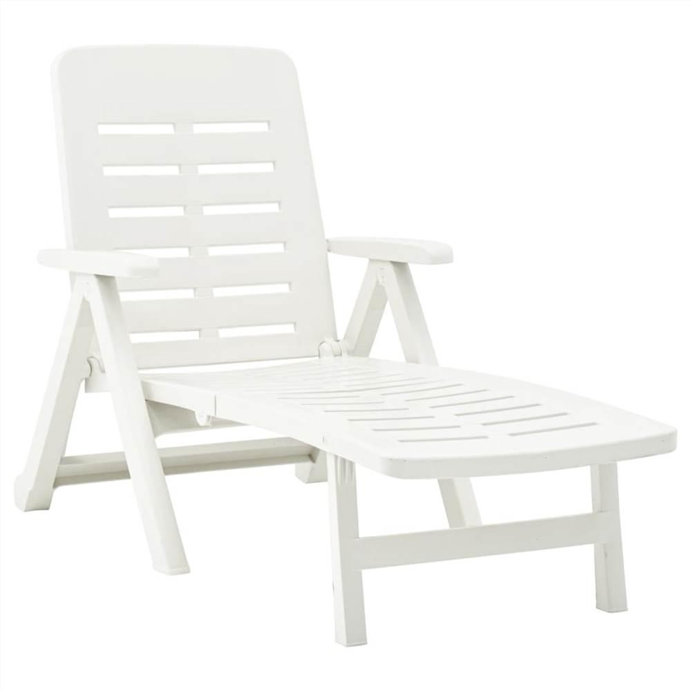 Chaise longue pliante en plastique blanc