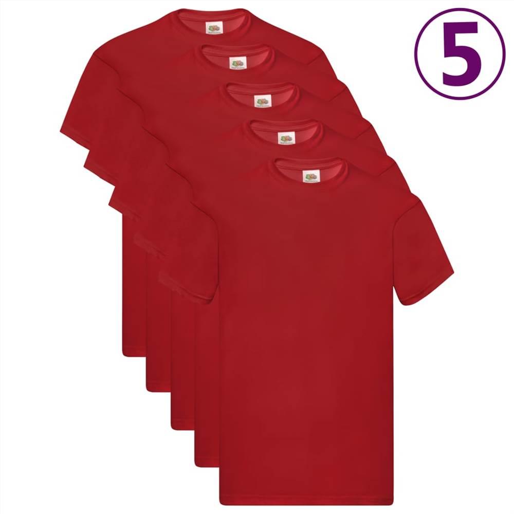 Φρούτα του Loom Γνήσια μπλουζάκια 5 τεμ. Κόκκινο βαμβάκι XL