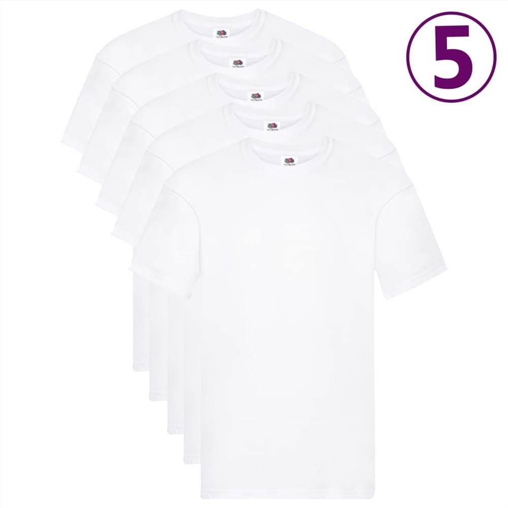 Φρούτα του Loom Γνήσια μπλουζάκια 5 τεμ Λευκό βαμβάκι 5XL