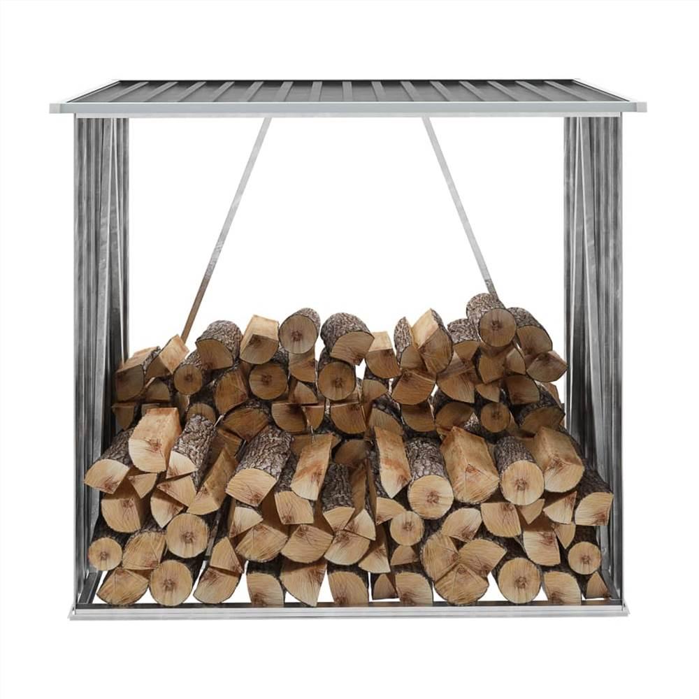 Garden Log Storage Shed Galvanised Steel 163x83x154 cm Anthracite