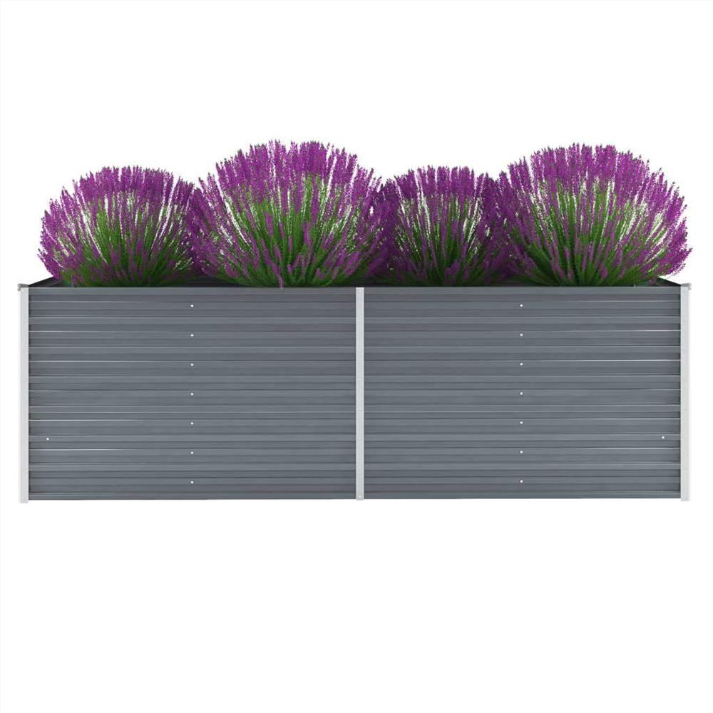 ガーデンレイズドベッド亜鉛メッキ鋼240x80x77cmグレー
