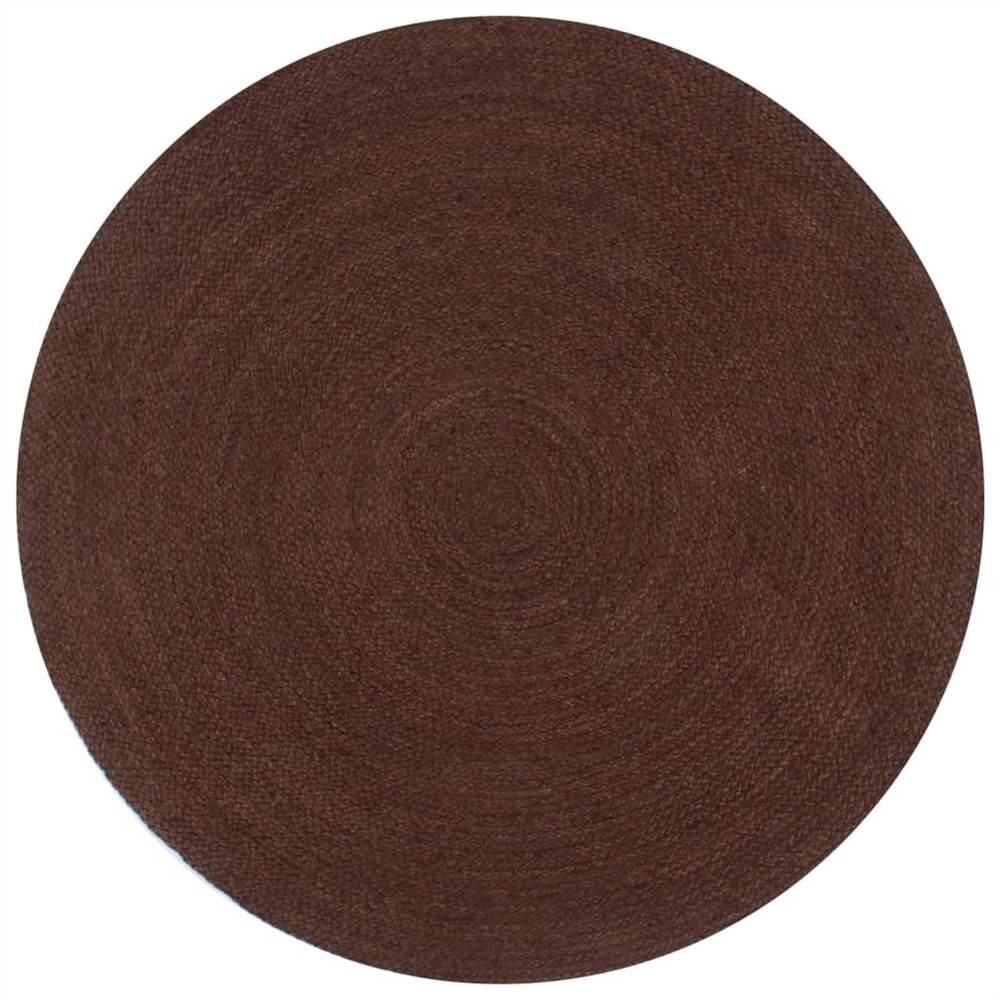 Handmade Rug Jute Round 90 cm Brown