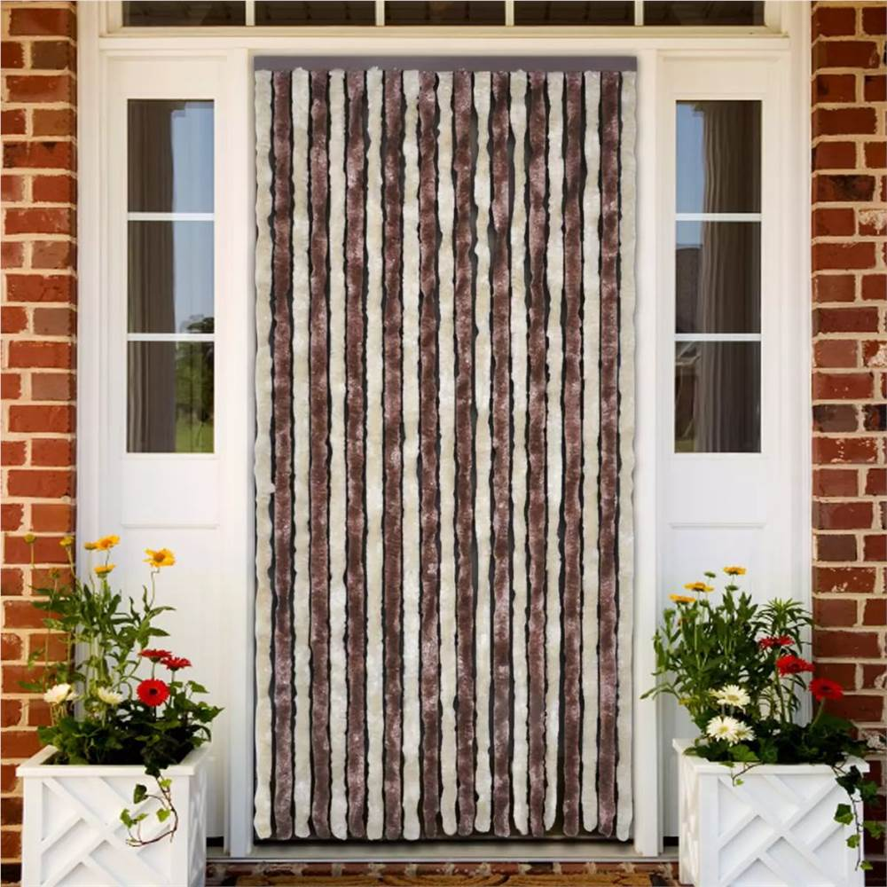 Insect Curtain Beige and Light Brown 90x220 cm Chenille