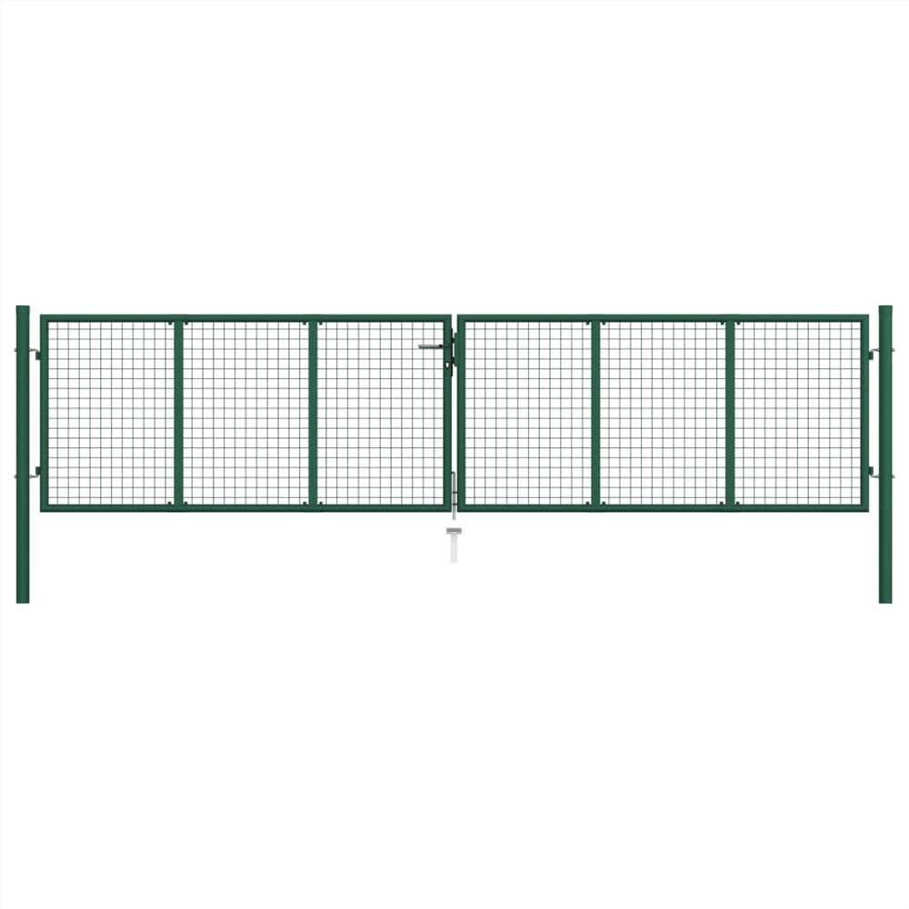 Mesh Garden Gate Steel 400x125 cm Green