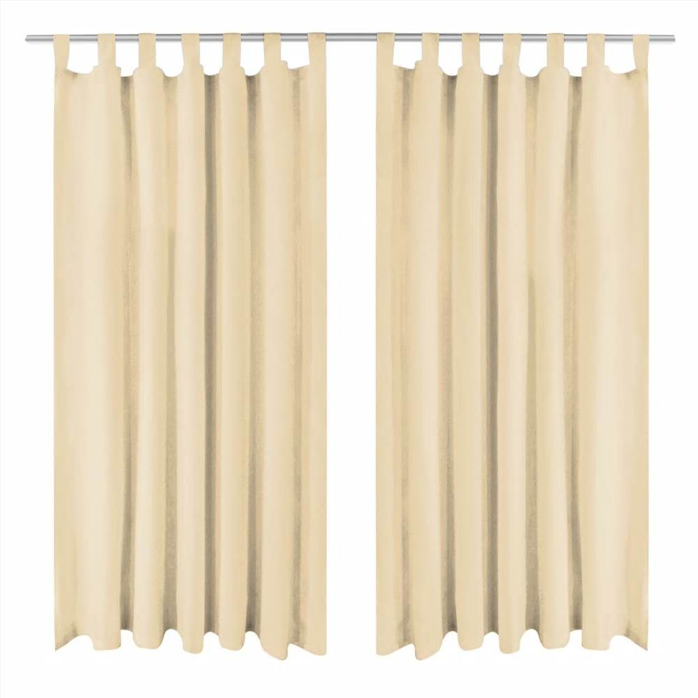 Micro-Satin Curtains 2 pcs with Loops 140x225 cm Beige