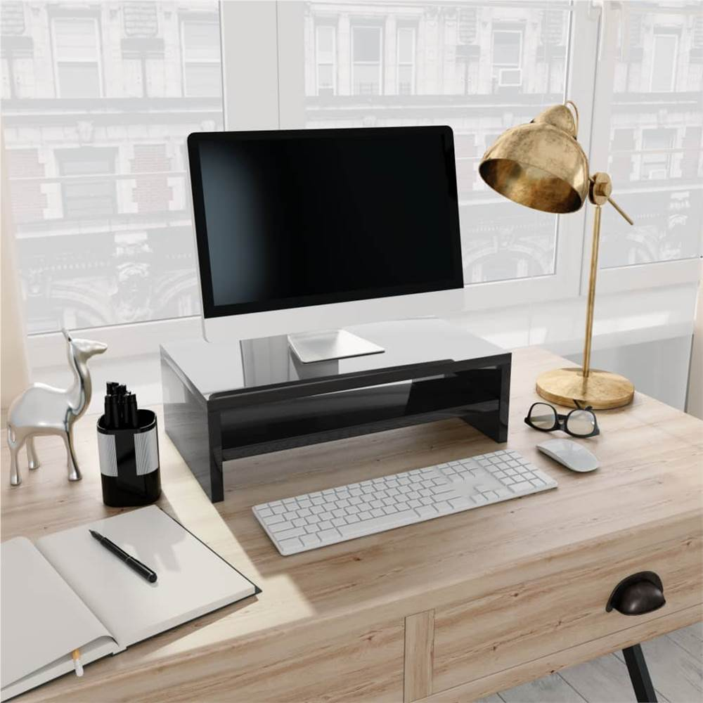 Monitor Stand High Gloss Black 42x24x13 cm Chipboard