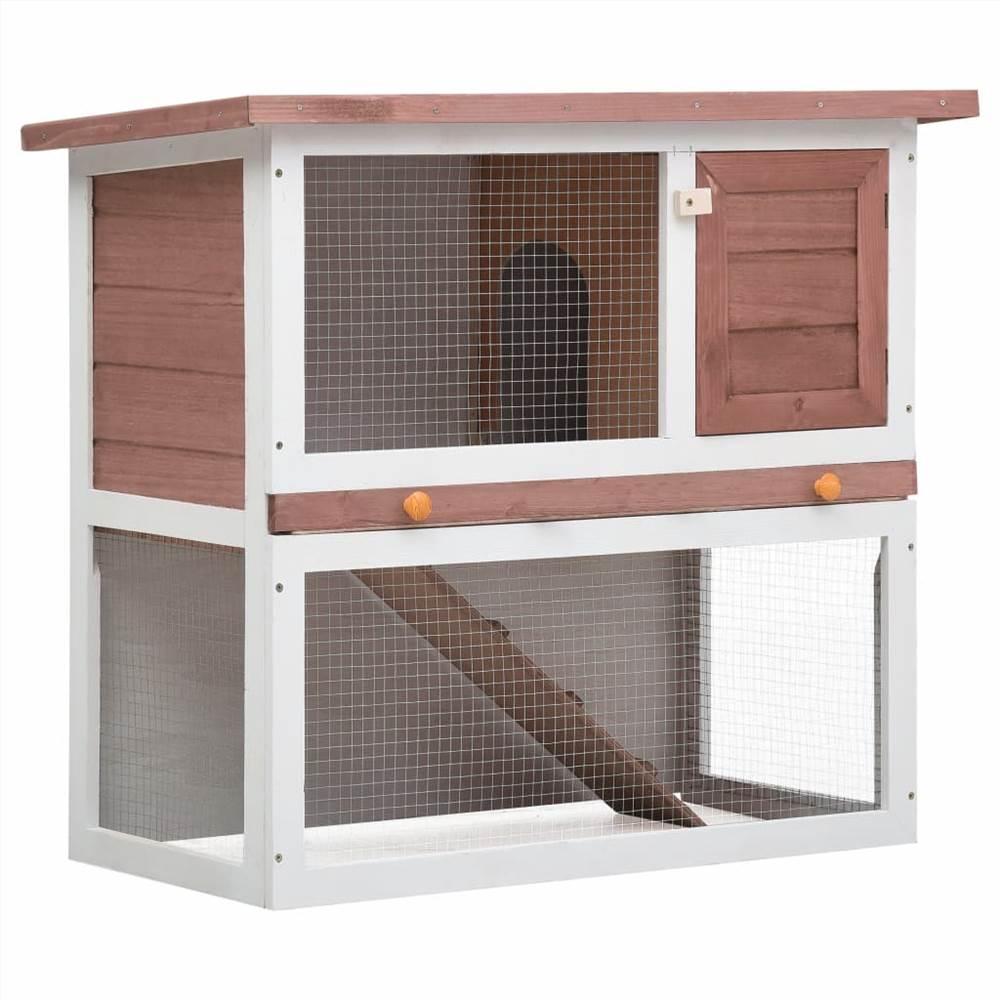Outdoor Rabbit Hutch 20 Door Brown Wood
