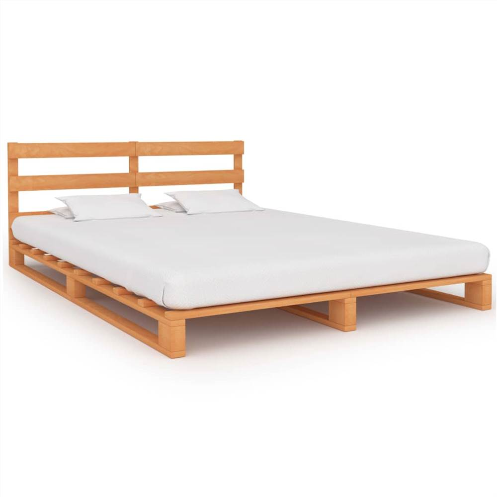 Pallet Bed Frame Brown Solid Pine Wood 140x200 cm