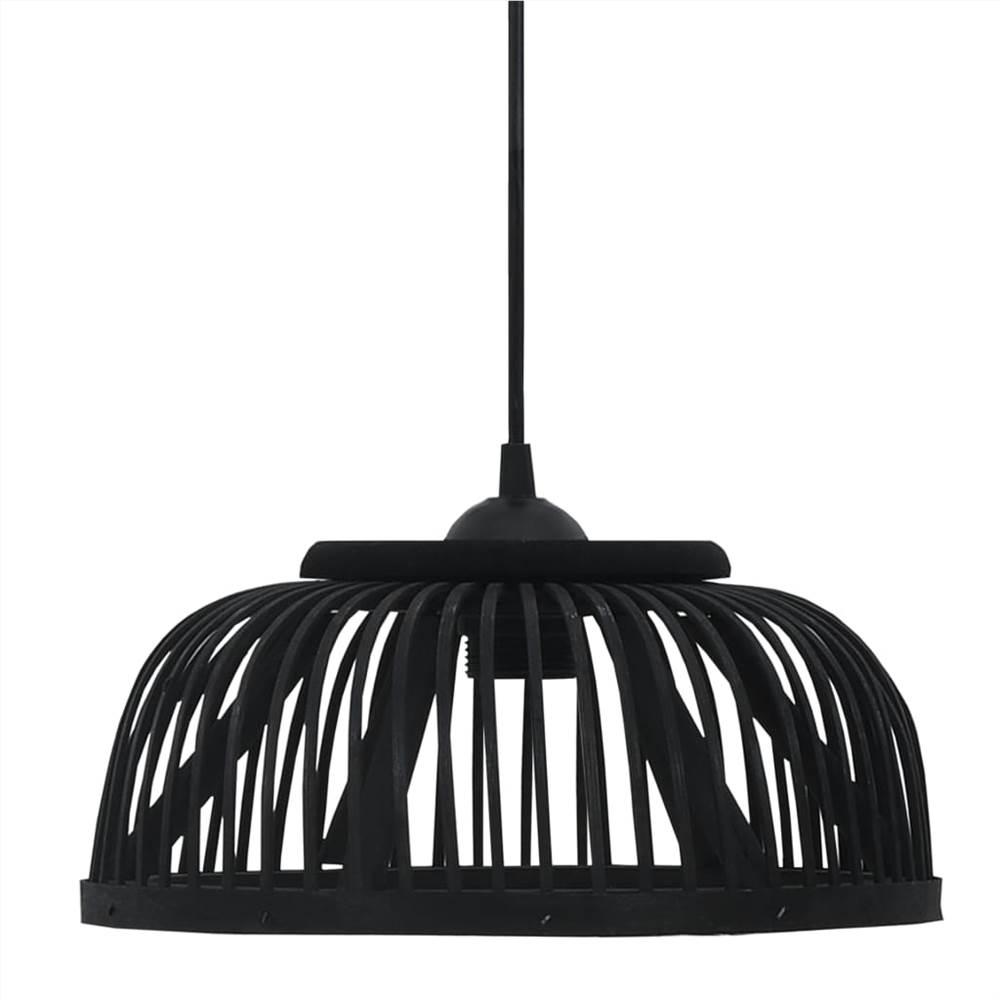 Pendant Lamp Black Bamboo 40 W 30x12 cm Semicircle E27
